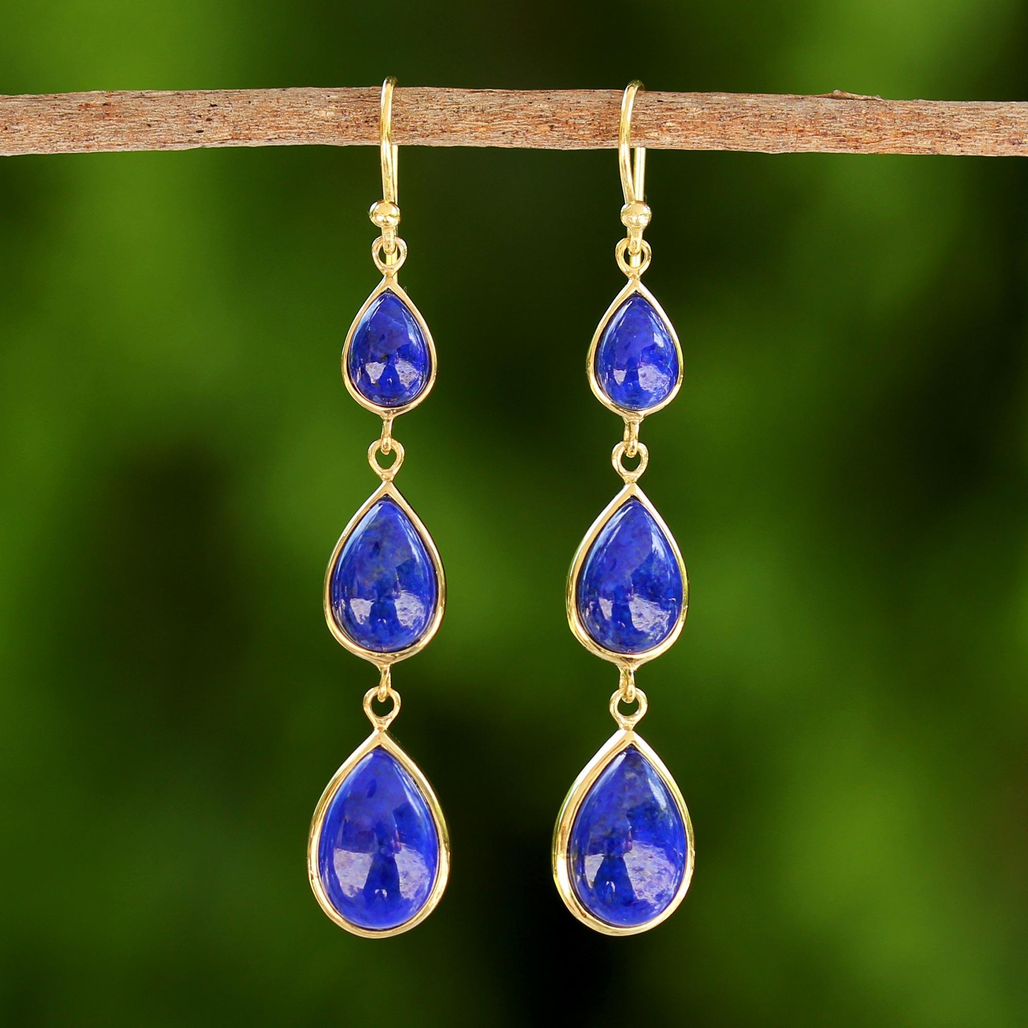 18k Gold Plated Handmade 925 Silver Lapis Gemstone Hook Earrings Jewelry