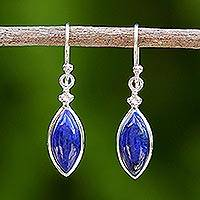 Rhodium plated lapis lazuli dangle earrings, 'Knowing Eyes' - Rhodium Plated Lapis Lazuli Dangle Earrings from Thailand