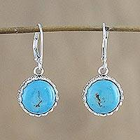 Sterling silver dangle earrings, 'Pointed Petals' - Sterling Silver and Reconstituted Turquoise Dangle Earrings