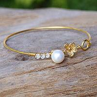 Gold plated cultured pearl and moonstone bangle bracelet, 'Precious Sea'
