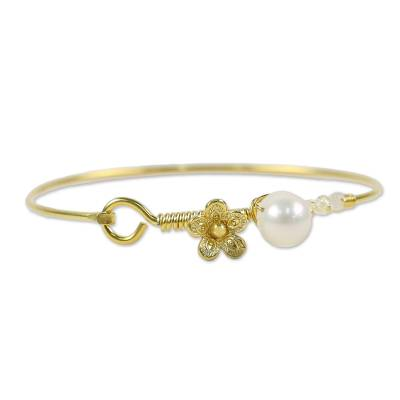 Gold plated cultured pearl and moonstone bangle bracelet, 'Precious Sea' - Cultured Pearl and Moonstone Gold Plated Floral Bracelet