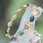 Agate Gold Plated Beaded Bangle Bracelet from Thailand, 'Flower Trellis'