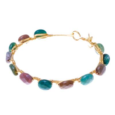 Gold plated agate bangle bracelet, 'Flower Trellis' - Agate Gold Plated Beaded Bangle Bracelet from Thailand