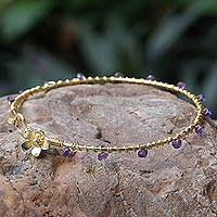 Gold plated amethyst bangle bracelet, 'Floral Berries'