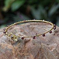 Gold plated garnet bangle bracelet, 'Floral Berries' - Gold Plated Garnet Floral Bangle Bracelet from Thailand