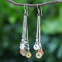 Jade and quartz waterfall earrings, 'Earthy Blend' - Multicolored Quartz and Jade Waterfall Earrings