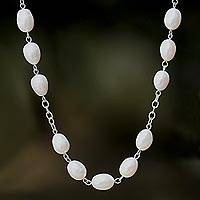 Cultured pearl and jade long station necklace, 'Enduring Classic' - Station Necklace with Jade, Quartz and Cultured Pearl