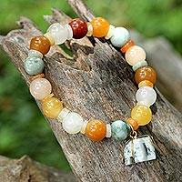 Jade and quartz beaded charm bracelet, 'Elephant Remembrance'
