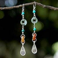 Jade and quartz dangle earrings, 'Hill Tribe Adventure'