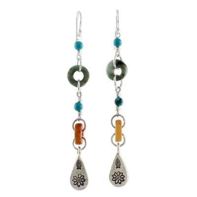 Jade and quartz dangle earrings, 'Hill Tribe Adventure' - Beaded Dangle Earrings with Jade and Hill Tribe Silver