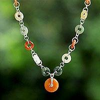 Jade and quartz pendant necklace, 'Natural Essence' - Quartz and Jade Pendant Necklace with Sterling Silver