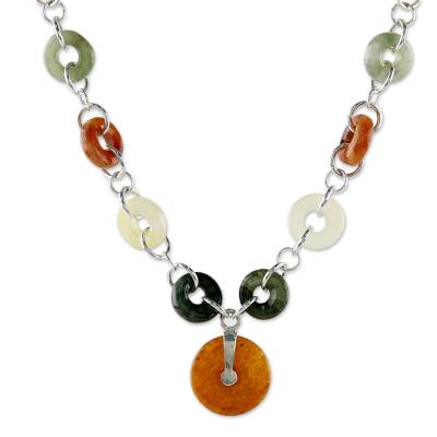 Quartz and jade pendant necklace, 'Natural Essence' - Quartz and Jade Pendant Necklace with Sterling Silver
