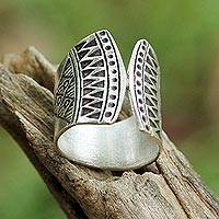 Sterling silver wrap ring, 'Groovy Style'
