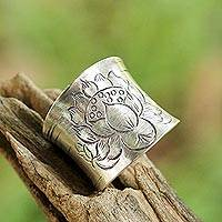 Sterling silver wrap ring, 'Lanna Lotus' - Sterling Silver Etched Lotus Wrap Ring from Thailand