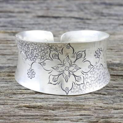 81b94df34c63d Floral Sterling Silver Cuff Bracelet from Thailand, 'Thai Flower'