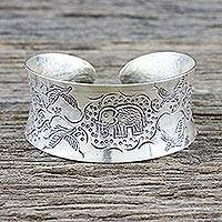 Sterling silver cuff bracelet, 'Lanna Forest' - Bird and Elephant 925 Silver Cuff Bracelet from Thailand