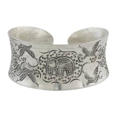 Bird and Elephant 925 Silver Cuff Bracelet from Thailand