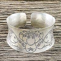 Sterling silver cuff bracelet, 'Sacred Pond' - Nature-Themed Sterling Silver Cuff Bracelet from Thailand