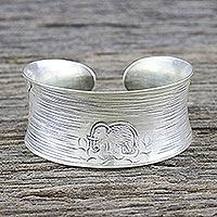 Sterling silver cuff bracelet, 'Lone Elephant' - Sterling Silver Cuff Bracelet with Elephant from Thailand