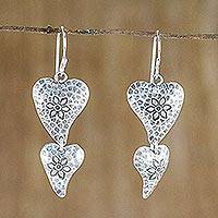 Sterling silver dangle earrings, 'Flowering Love' - Floral Heart-Shaped Sterling Silver Earrings from Thailand