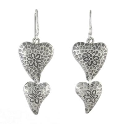 Sterling silver dangle earrings, 'Flowering Love' - Floral Heart-Shaped Sterling Silver Earrings from Thailand