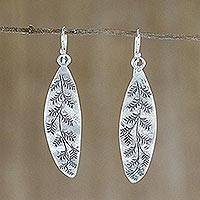Sterling silver dangle earrings, 'Hanging Ferns' - Leaf Motif Sterling Silver Dangle Earrings from Thailand
