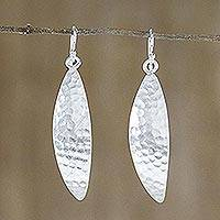 Sterling silver dangle earrings, 'Glittering Curves' - Hill Tribe Sterling Silver Dangle Earrings from Thailand