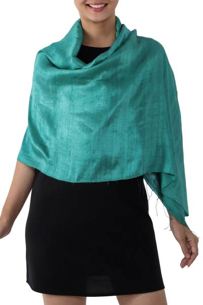 Silk shawl, 'Comforting Turquoise' - Handwoven Fringed Silk Shawl in Emerald from Thailand