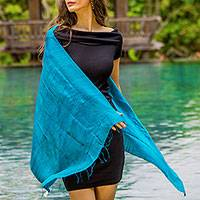 Silk scarf, 'Comforting Teal' - Handwoven Fringed Silk Scarf in Teal from Thailand
