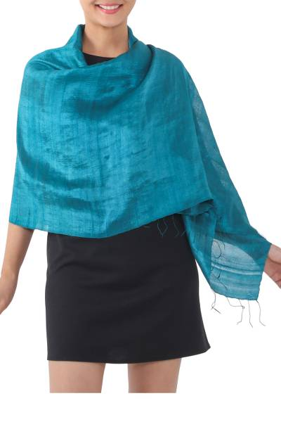 Silk shawl, 'Comforting Teal' - Handwoven Fringed Silk Shawl in Teal from Thailand