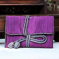 Silk blend jewelry roll, 'Enchanted Journey in Eggplant'