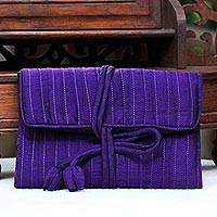 Silk blend jewelry roll, 'Enchanted Journey in Violet'