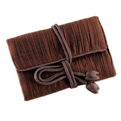 Silk blend jewelry roll, 'Enchanted Journey in Russet' - Hand Woven Silk and Rayon Blend Thai Jewelry Roll in Russet