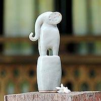 Ceramic sculpture, 'Posing Elephant in White' - Ceramic Elephant Sculpture in White from Thailand