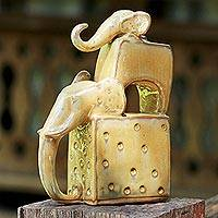 Ceramic sculpture, 'Elephant Father in Yellow' - Ceramic Sculpture of Two Elephants in Yellow from Thailand