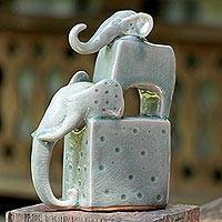 Ceramic sculpture, 'Elephant Father in Blue-Green' - Ceramic Sculpture of Two Thai Elephants in Blue-Green
