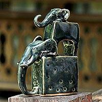 Ceramic sculpture, 'Elephant Father in Green' - Ceramic Sculpture of Two Elephants in Green from Thailand