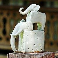 Ceramic sculpture, 'Elephant Father in Grey' - Ceramic Sculpture of Two Elephants in Grey from Thailand
