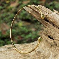 Gold plated peridot cuff bracelet, 'Thai Fashion' - Gold Plated Peridot Cuff Bracelet Crafted by Thai Artisans