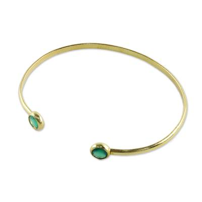 Gold plated chalcedony cuff bracelet, 'Thai Fashion' - Gold Plated Dyed Chalcedony Cuff Bracelet from Thailand