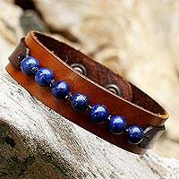 Men's lapis lazuli wristband bracelet, 'Rock Party' - Men's Lapis Lazuli and Leather Thai Wristband Bracelet
