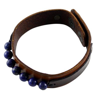 Men's lapis lazuli wristband bracelet, 'Rock Party' - Men's Lapis Lazuli and Leather Thai Wristband Bracelet