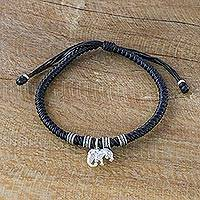 Silver wristband bracelet, 'Wondrous Elephant in Black' - Karen Silver Elephant Bracelet in Black from Thailand