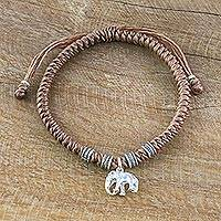 Silver wristband bracelet, 'Wondrous Elephant in Brown' - Karen Silver Elephant Bracelet in Brown from Thailand