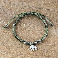 Silver wristband bracelet, 'Wondrous Elephant in Green' - Karen Silver Elephant Bracelet in Green from Thailand