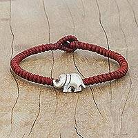 Silver wristband bracelet, 'Darling Elephant in Red' - Karen Silver Elephant Bracelet in Red from Thailand