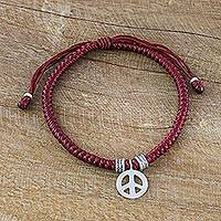 Silver wristband bracelet, 'Peaceful Charm in Red' - Karen Silver Peace Wristband Bracelet in Red from Thailand
