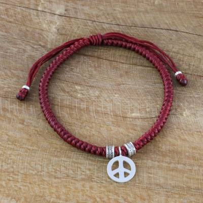 Novica Silver wristband bracelet, Peaceful Charm in Burgundy