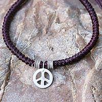 Silver wristband bracelet, 'Peaceful Charm in Maroon' - Karen Silver Peace Bracelet in Maroon from Thailand