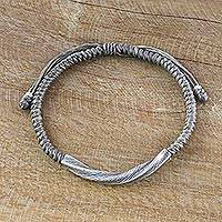 Silver wristband bracelet, 'Karen Twist in Grey' - Karen Silver Wristband Bracelet in Grey from Thailand